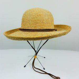 Scala Straw Hat Leather neck string